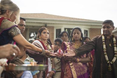 Tying the knot: A traditional Indian wedding was celebrated in the front yard of the Patel home on Aug. 16. | Alexa Rogals/Staff Photographer