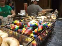 Rainbow bagel's by Daly. | JASON MAXHAM/Contributor