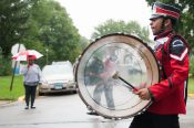 A Proviso West band drummer keeps the beat. | Photo by Shanel Romain