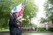 Proviso East ROTC members march tall in the parade. | Photo by Shanel Romain