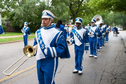 The Proviso East marching band performs. | Photo by Shanel Romain