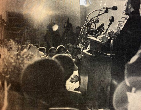Thousands packed the First Baptist Church in west suburban Melrose Park on Dec. 9, 1969, for the funeral of slain Black Panther leader Fred Hampton, who was killed in an illegal police raid at his West Side apartment on Dec. 4, 1969.