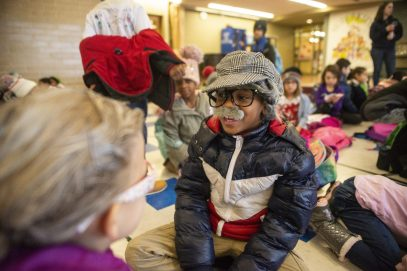 First-grader Deshaun Walk dresses as a 100-year-old for Betsy Ross Elementary School's 100 days of school celebration on Jan. 31.