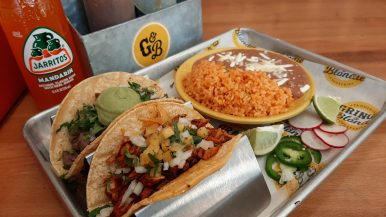 Gringo and Blondie Taco Dinner: Gringo and Blondie's two taco deal is a huge restaurant week value in Elmwood Park. Here al pastor and carne asada tacos, rice, beans and a soda will set diners back less that .00. Photo by Melissa Elsmo.