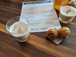The menu featured creative cocktails and off-menu food items, like an oatmeal bourbon cocktail served with hot link corndog bites.