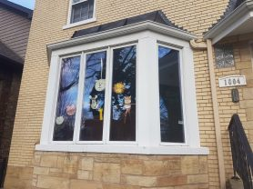 """Forest Park residents are participating in a window art project. The """"assignment"""" for March 23 was drawings of animals."""