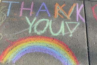 Residents decorated the sidewalks outside Ed's Way to show their thanks to the store and its employees. | Jill Wagner, Contributing Photographer