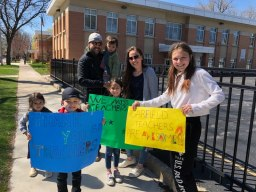 Garfield School faculty and staff drove by students' houses on April 20.
