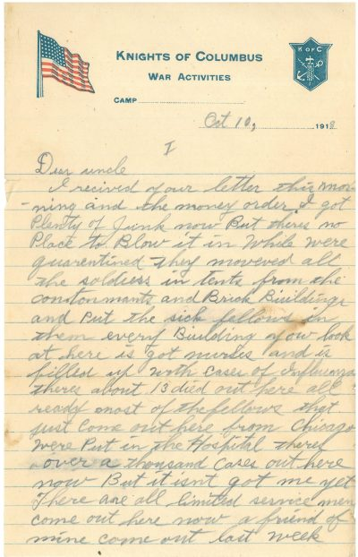 A letter from 1918 talks about not being able to spend money because of the quarantine. | Courtesy of Dave Marcinkus