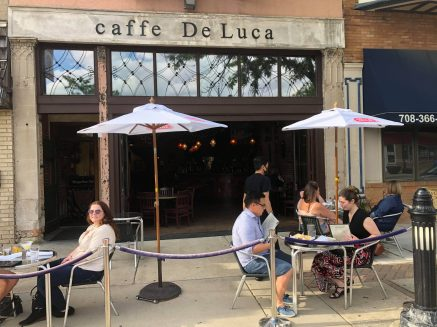 Caffe De Luca, 7427 Madison St., was open for outdoor dining on May 29.