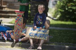 Parents and students came to Betsy Ross School during the goodbye parade for Leslie Compere and Bill Milnamow on June 8. | Alex Rogals, Staff photographer