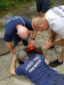 Forest Park fire fighters rescued a duckling from a drain on June 10. | Jill Wagner