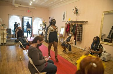 Models wore the designs of Latrina Brown, owner of Taj B, 7516 Madison St., during a July 31 fashion show. | Alex Rogals, Staff Photographer