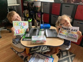 District 91 students, including Ronan (kindergarten) and Sloane (preschool), have started the school year remotely. | Photo provided