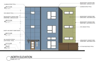 North elevation of the Franklin townhome project. Drawing by John Conrad Schiess Architect