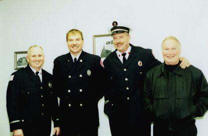(From left) Bob McDermott as lieutenant, firefighter Scott Popelka, Steve Glinke as fire captain, and retired firefighter Frank Chiero in the late 1990s. | Photo provided