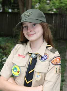 Eleanor Herlihy, 11, is the first girl in Forest Park's girls' BSA patrol to cross over from Cub Scouts to Scouts BSA. | Photo provided