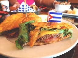 The Ropa Vieja Jibarito is the only fusion item on Cafe Cubano's menu