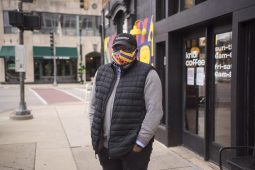 Jacques Shalo, owner of Kribi Coffee (7324 Madison St.), recently received an Illinois Made award from the state. He's pictured here wearing one of the masks he makes and sells. Proceeds go to the Economy Shop. | Alex Rogals, Staff Photographer