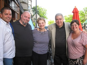 Former Grant-White Secretary Theresa Giglio (center) and her family outside the double-retirement party for she and former Garfield Custodian Bob Crane.Courtesy Theresa Giglio