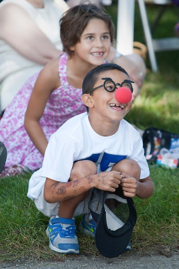 Kids in attendance received free clown noses and Josh Negron, 7, of Berwyn, kept his on.