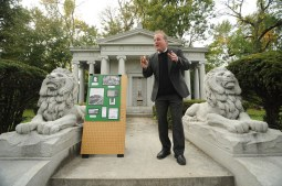 Rags to riches twice: Actor Kevin Bry portrays radio millionaire and poultry king William Grunow, at the Tale of the Tombstones walk at Forest Home Cemetery. (JENNIFER WOLFE/Contributor)