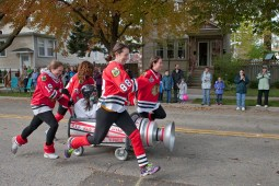 The team of Meghan Wais, Katie Hooker, Ellen Brooks, Marjory McMahon and Molly Hanrahan honored the Stanley Cup champion Chicago Blackhawks for their entry. (David Pierini/staff photographer)