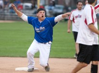 Jimmy Grasz of the Nature Boys tries to correct an umpire after he was called out at second during the opening games of the No Gloves Nationals in Forest Park.