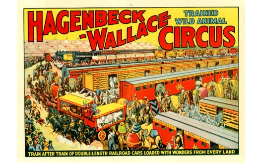 Trains in vain: The Wallace-Hagenbeck Circus advertised its modern train cars heavily in 1939. The circus went bankrupt shortly thereafter. (Courtesy Wikipedia)