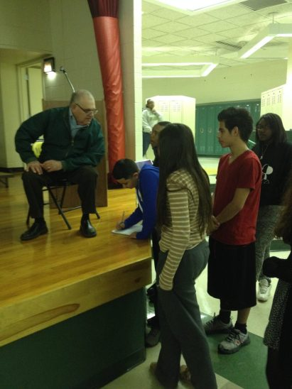 Author George Levy Mueller visited Forest Park Middle School and spoke to eighth graders about his childhood experiences during World War II as a captive in three different concentration camps.