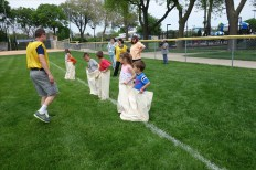 The potato sack race is a yearly favorite.