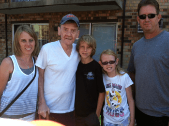 Jimmy Cavenaugh and daughter Janet Classen, grandchildren Katie and Tommy and son-in-law Tom Classen. Family was visiting from Florida.