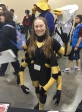 """A fan visits at a comic convention in Spinnerette """"cos-play."""" (Courtesy Facebook)"""