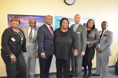 Organizers of the Stable Project's Proviso Township Homeownership and Financial Capability Project pose at a meet-and-greet event Jan. 21. From left: Brandi Abernathy (Guaranty Bank), Paul A. Labonne (PNC Bank), State Rep. Chris Welch, Sandy Turner (Marquette Bank), Otic C. Monroe, Eva Brown (US Bank), Dana Kenny (US Bank). Courtesy Nicholas Samuel.