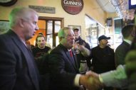 Forest Park Mayor Tony Calderone is welcomed by supporters at Healy's Westside, after winning reelection on Tuesday, April 7, 2015. | CHANDLER WEST/Staff Photographer