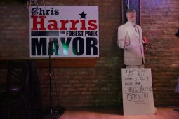 Signage for Forest Park mayoral candidate Chris Harris gather at CHALK Craft Beer House Bar on Tuesday, April 7, 2015. | CHANDLER WEST/Staff Photographer