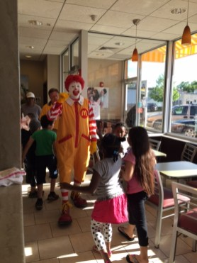 Students were excited to see Ronald McDonald!