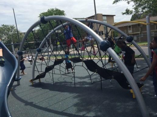 Grant-White students enjoy the new playground.