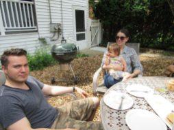Adam Stickland with Allison Fyrie (Stickland) holding baby Scarlett Strickland. | JACKIE SCHULZ/Contributor