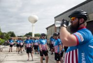 Members of the Wounded Warriors Project prepare to begin cycling at the former Hines Lumber property on Madison in River Forest. | William Camargo/Staff Photographer