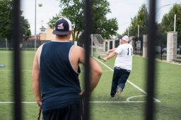 Chris Thompson of OBI takes practice swings before the game against Signature. | MAX HERMAN/Contributor