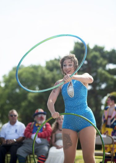 Silvia Silvester performs with hula hoops. | William Camargo/Staff Photographer