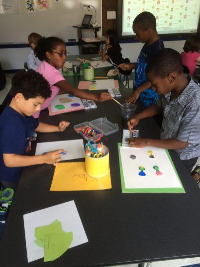 Students creating dot art.