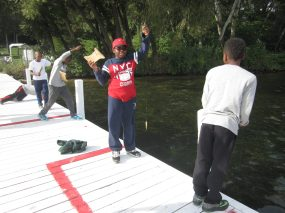 Catching fish with a board and line can be tricky!