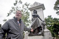Mark Rogovin, of the Illinois Labor History Society, leads a tour of Forest Home Cemetery's Haymarket Memorial and adjacent graves of 20th century labor activists on Saturday, Oct. 3. | William Camargo/Staff Photographer