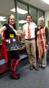 Super Bacon Lady, Richard Hearn and Cheryl Bussert. - Photo courtesy of Jill Wagner, Reader Engagement & Circulation, Forest Park Review