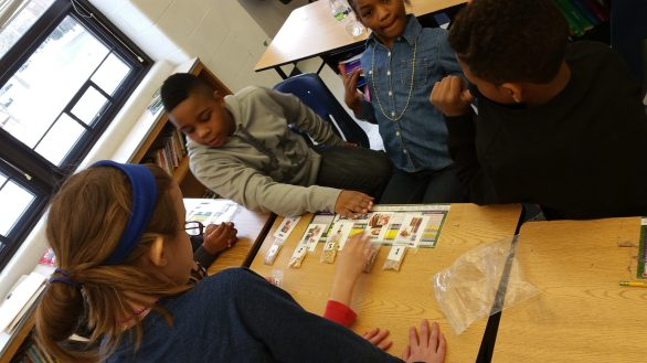 Students work together to categorize seeds