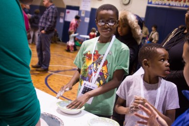 Students enjoyed a cornstarch and water experiment at Science Night at Field-Stevenson Elementary School on Feb. 19. | Stacey Rupolo/Contributor