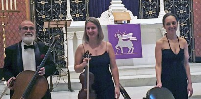 The Opus 3 Trio from the Gasse School of Music entertained the audience at St. John Lutheran on Sunday. Below, the new cook at Doc Ryan's. | Courtesy Rina Petersen