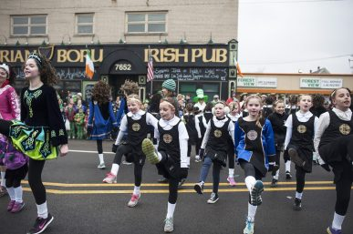 Irish dancers perform during the annual St. Patrick's Parade along Madison Street on Saturday. | William Camargo/Staff Photographer